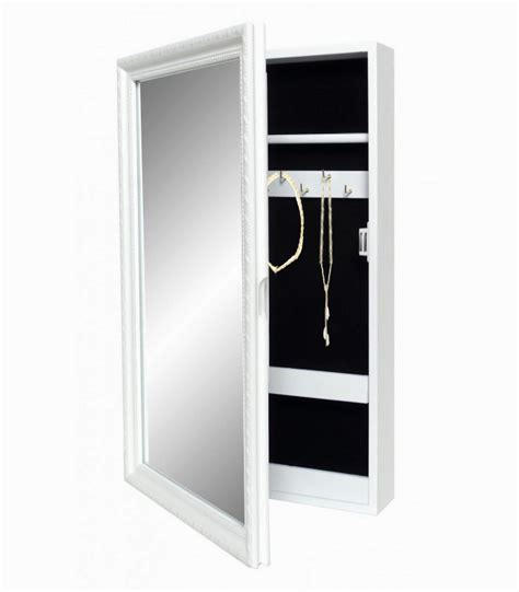bo 238 te 224 bijoux murale avec miroir en bois blanc keira