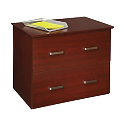 officemax mahogany finish 2 drawer lateral file cabinet by