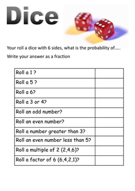 Dice And Cards Probability Short Worksheets By Moth754  Teaching Resources Tes