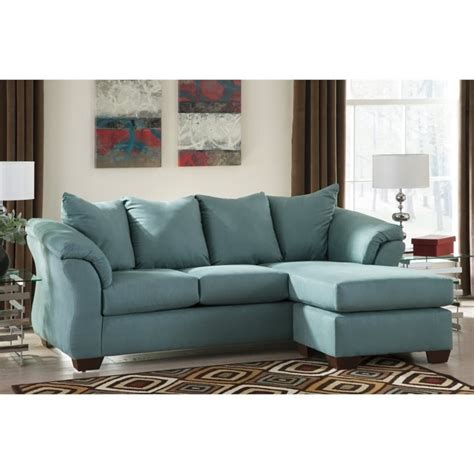 Ashley Darcy Fabric 2 Piece Chaise Sofa In Sky 7500618