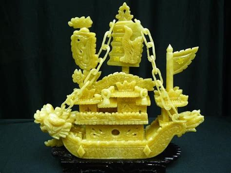 Jade Dragon Boat Carving by Jade Dragon Boat Carving Handmade In China For Sale By38