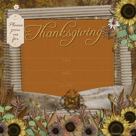 Thanksgivng Dinner Pages Template by Free Printable Party Invitations Thanksgiving Dinner