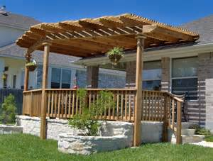 exterior backyard patio pergola ideas design with wooden rail half fencing on white like