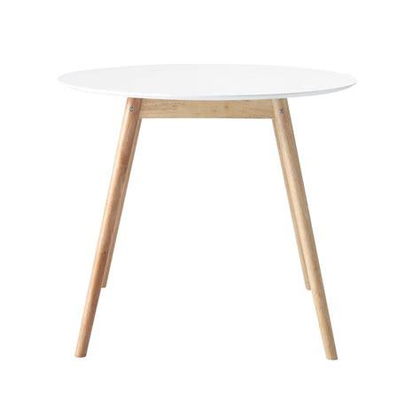 table ronde de salle 224 manger en h 233 v 233 a blanche d 90 cm maisons du monde