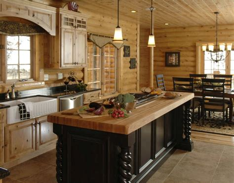 log home kitchen islands log cabin kitchens and