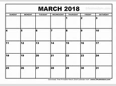 March 2018 Calendar Printable monthly calendar 2017