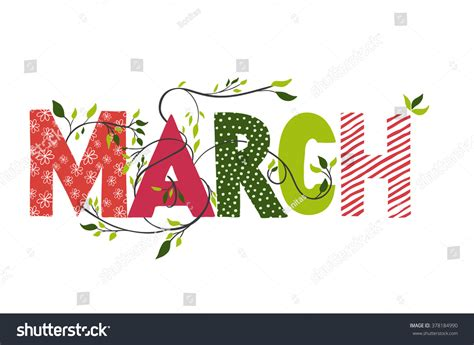 March Month Name Lettering Branches Young Stock Vector 378184990 Shutterstock
