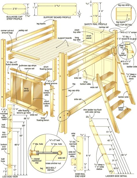 Loft Bed Woodworking Plans by Plans For Loft Bed With Desk Free Woodworking Projects