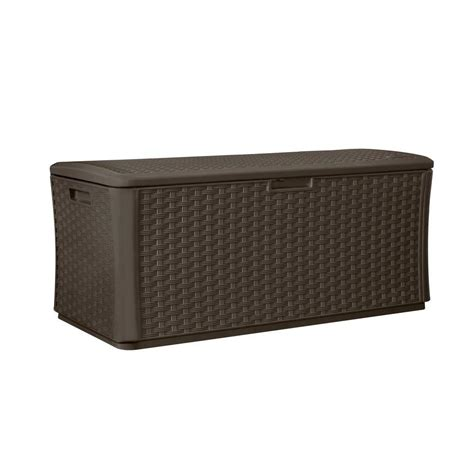 suncast benches wicker 134 gal resin deck box java resin wick
