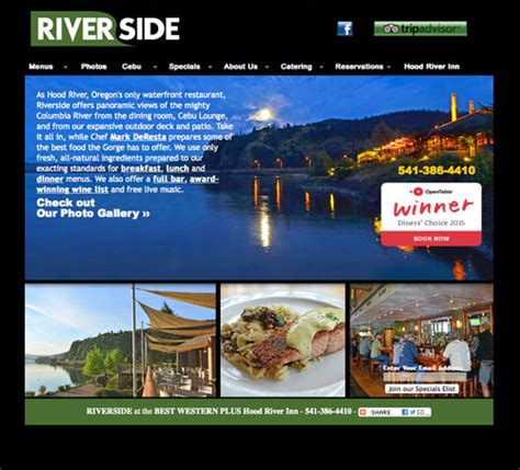 riverside at the best western plus river inn offers river s only waterfront dining