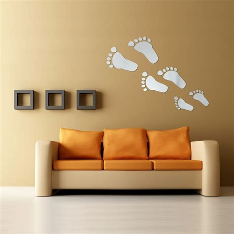 6pcs Diy Footprint Acrylic Wall Sticker Fat Footprints