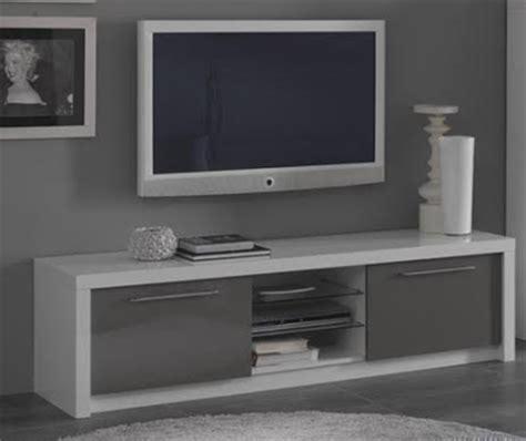 meuble tv plasma fano laqu 233 blanc et gris blanc brillant gris brillant l 180 x h 50 x p 50