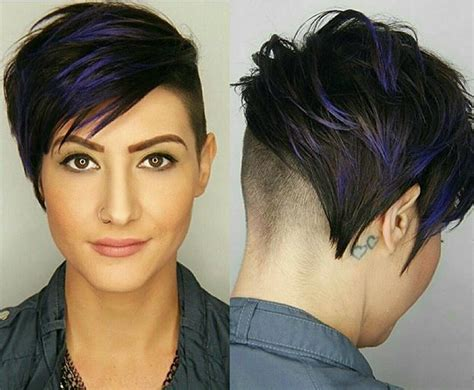Short, Dark Haircut With Shaved Back And Dark Blue Highlights Hairstyles Medium Length Wavy Hair What Is The Best Haircut For Round Fat Face Color Ruddy Skin Hazel Eyes Curly With Side Bangs Quick Easy Hairdos Long Straight Faces Short French Braids