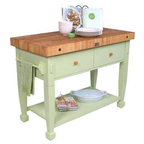 John Boos Butcher Block Kitchen Island With Shelves And