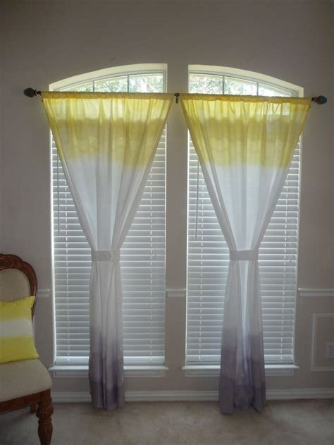 ombre dip dyed yellow and grey curtain panel on etsy sewsueprops ombre curtains