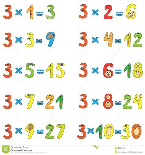 table de multiplication de 3 illustration de vecteur image 25805539