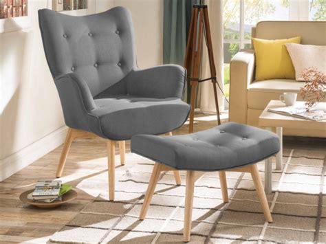 fauteuil avec repose pieds en tissu 3 coloris esben