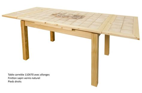 table rectangulaire carrel 233 e avec 2 allonges made in fabrication artisanale
