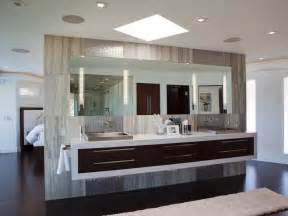 modern master bathroom with floating vanity hgtv