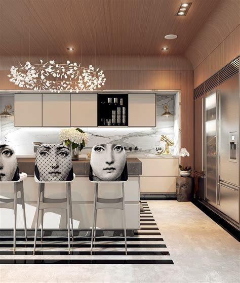 a modern deco home visualized in two styles