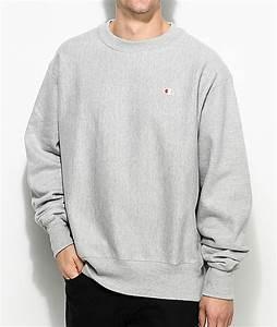 Champion Reverse Weave Grey Crew Neck Sweatshirt | Zumiez