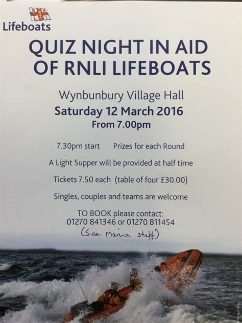 The Boat Quiz Night by Overwater Marina Quiz Night In Aid Of Rnli Lifeboats