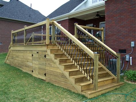 deckorators spindles wood deck with horizontal skirting deck boards the handrails were placed in