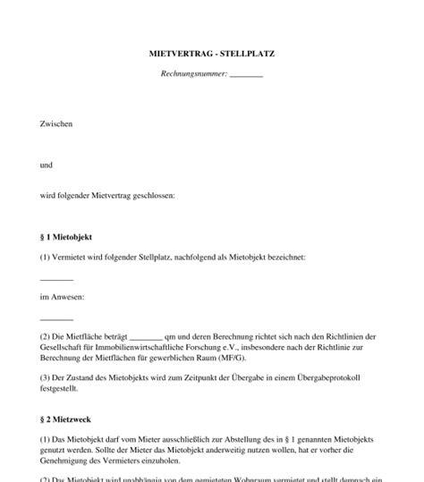 Mietvertrag  Garagestellplatzcarport Muster