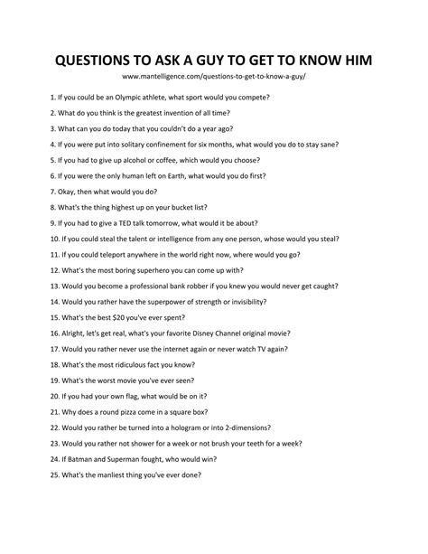 85 Good Questions To Ask A Guy To Get To Know Him