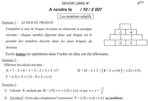dm maths 4 232 me quot nombres relatifs quot 10 r 233 ponses coll 232 ge et primaire 42445 forum de