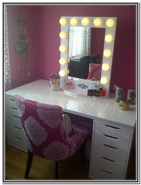 vanity table with lighted mirror and bench home design
