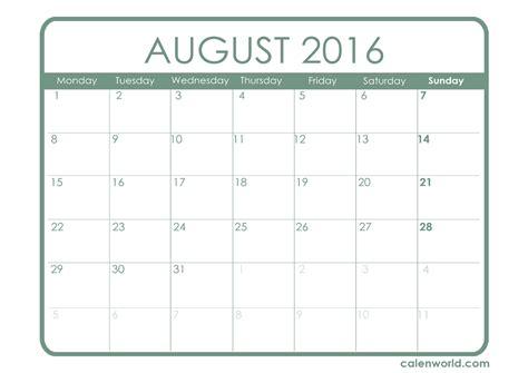 August 2016 Calendar Landscape