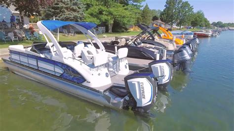 Twin Engine Pontoon by Manitou Dual Engine Test Drive Dealer Video Youtube