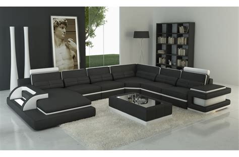 canap 233 d angle en cuir italien 7 8 places bestof noir et blanc mobilier priv 233