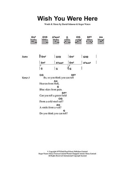 Wish You Were Here Partition Par Pink Floyd (paroles Et Accords 40589