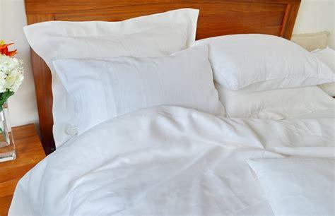 Pure Linen Sheets Queen Size Plain White Ecoliving