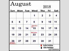 August 2018 Calendar With Holidays yearly printable calendar