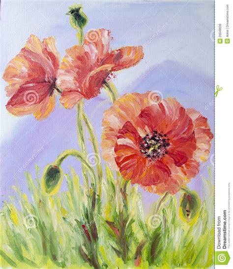 pavots peinture 224 l huile sur la toile images libres de