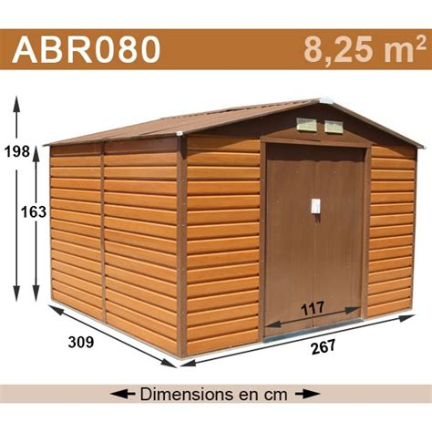 abri de jardin m 233 tal 8 25 m2 coloris aspect bois kit d ancrage inclus trigano store