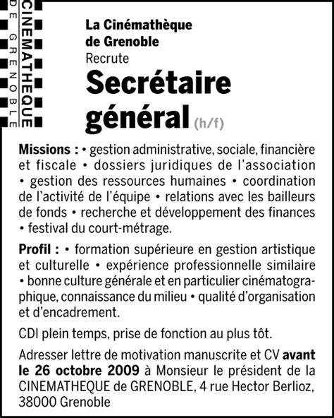 secr 233 taire g 233 n 233 ral h f talents fr