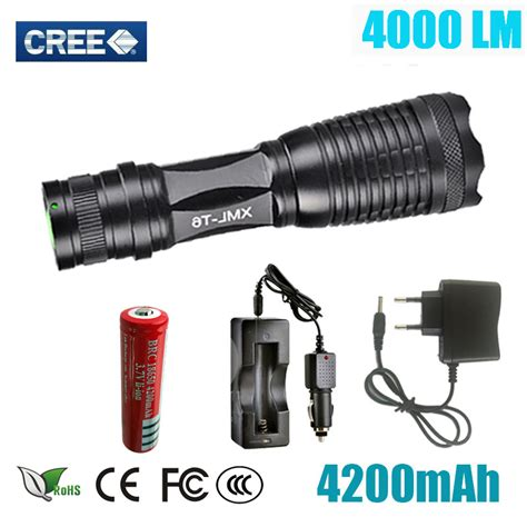 led flashlight torch cree xml t6 4000 lumens adjustable lights torch for aaa 18650 battery