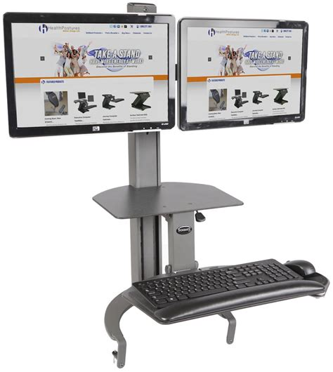 sit stand desk mount supports dual monitors
