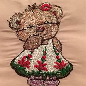 Cute Teddy bear girl embroidery design - Teddy bear ...