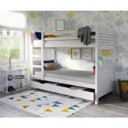 woopi lit superpos 233 enfant mixte tiroir en bois massif blanc l 98 x l 198 cm achat