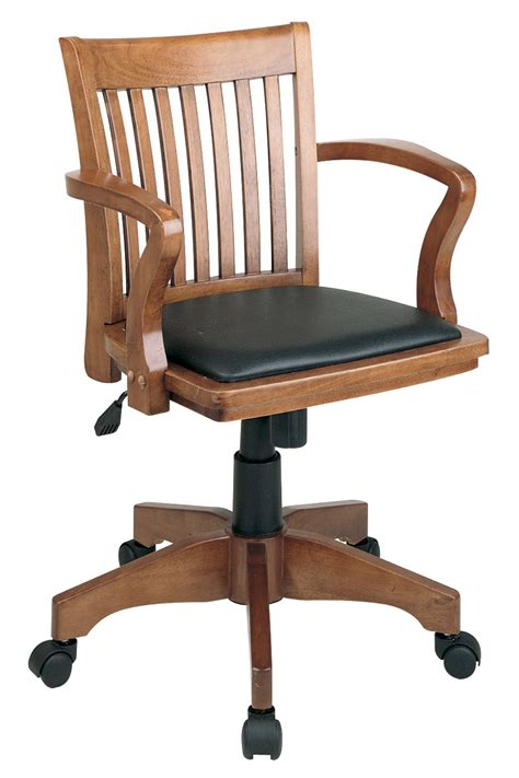 108 fw 3 office fruitwood wood bankers chair with black vinyl seat chairhero
