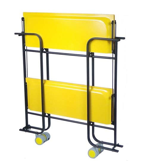 rolling and folding yellow table and black chassis 3