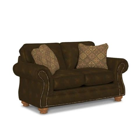 broyhill laramie brown loveseat with attic heirlooms wood stain 5081 1q