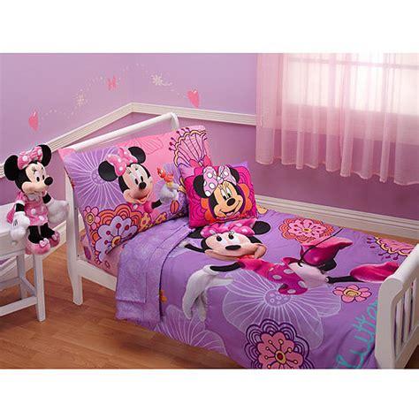 disney minnie mouse fluttery friends 4pc toddler bedding collection bundle walmart