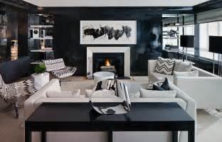 white and black living room contemporary living room
