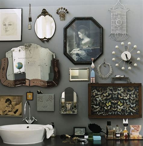 retro bathroom idea with grey wall paint plus completed